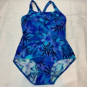 Speedo Floral Racerback One-Piece Swimsuit